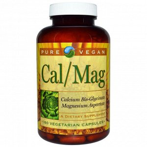 Pure Vegan, Cal/Mag, 180 Vegetarian Capsules