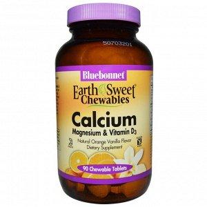 Bluebonnet Nutrition, Кальций, магний и витамин D3, апельсин-ваниль, 90 жевательных таблеток