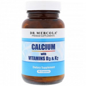 Dr. Mercola, Кальций с витаминами D3 и K2, 90 капсул