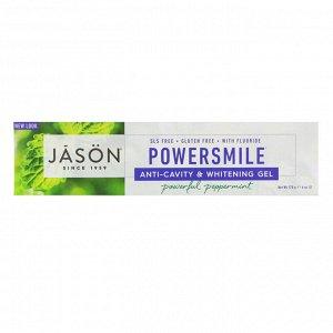 Jason Natural, PowerSmile, гель против кариеса с эффектом отбеливания, перечная мята, 170 г (6 унций)