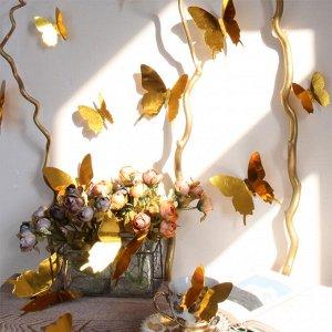 Набор зеркальных 3D бабочек 12 шт (золото)