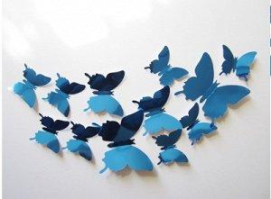 Набор зеркальных 3D бабочек 12 шт (голубые)
