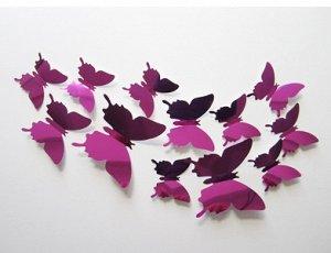 Набор зеркальных 3D бабочек 12 шт (розовые)