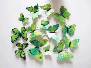 Набор декоративных 3D бабочек 12 шт (зелёные)