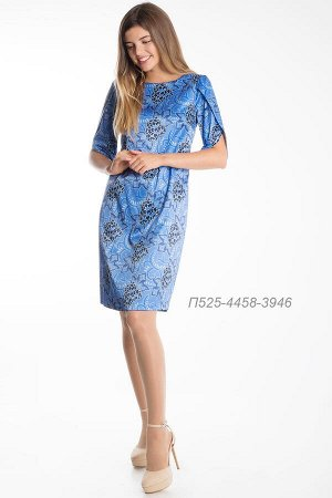 Платье 525 хлопок-сатин лазурно-синий Мимоза