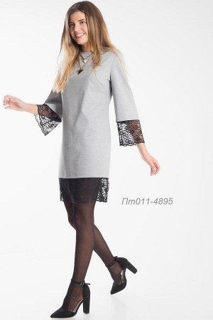 Платье-туника 011 тр-ж серый Меланж/ кружево