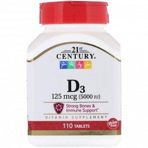 21st Century, Vitamin D3, 125 mcg (5,000 IU), 110 Tablets