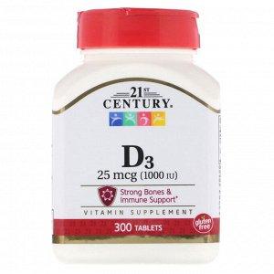 21st Century, Vitamin D3, 25 mcg (1,000 IU), 300 Tablets