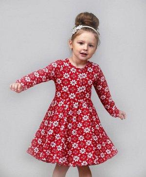 """Теплое детское платье с длинным рукавом """"Узор-Красный"""""""