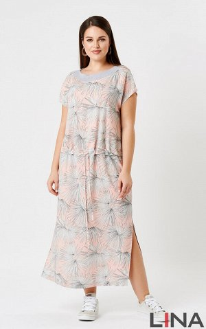 Платье . Персиковый принт, синий принт. Длина: 129 см Состав: вискоза 100%