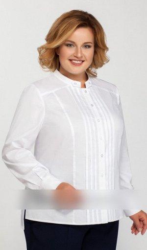 Блузка Блузки хлопок 60%, ПЭ 38%, эластан 2 %.Рост: 164 см. Блузка полуприлегающего силуэта, застежка по планке на пуговицы. Впереди декор вертикальными складками. Рукав длинный. Длина блузки сзади по
