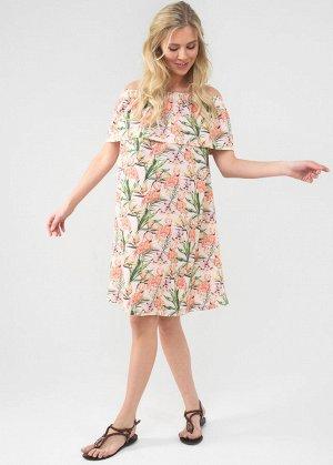 """Платье """"Контент"""" для беременных и кормящих; цвет: пудра/фламинго"""