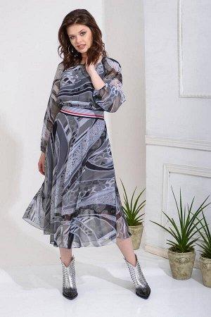 Платье Платье Anna Majewska A234  Состав ткани: ПЭ-100%;  Рост: 170 см.  Комфортное платье из легкого шифона. Отрезное по талии. Талию регулирует настроченная эластичная тесьма. Рукав реглан с выточк
