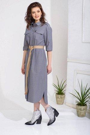 Платье Платье Anna Majewska А246  Состав ткани: Хлопок-100%;  Рост: 170 см.  Платье рубашечного стиля из набивного хлопка с постайной застежкой на пуговицы по переду на сквозь. Глубокие карманы в бок