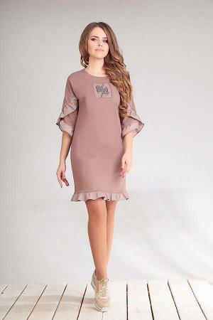 Платье Платье Golden Valley 4456 сухая роза  Состав ткани: ПЭ-20%; Хлопок-80%;  Рост: 170 см.  Платье без воротника, с круглым вырезом горловины, без застежки. По переду с нагрудными вытачками. По сп