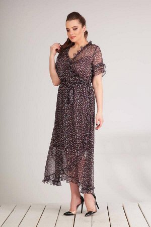 Платье Платье Golden Valley 4469 темно-синее с пестрым  Состав ткани: ПЭ-100%;  Рост: 170 см.  Платье без воротника, с V-образным вырезом горловины. Застежка на потайную молнию в левом боковом шве. П