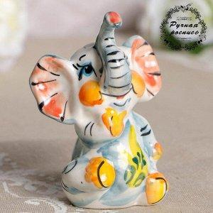 Сувенир «Слон Ксюша», фарфор, гжель, цветной