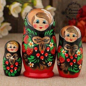 Матрёшка «Хохлома», чёрный платок, 3 кукольная, 9 см