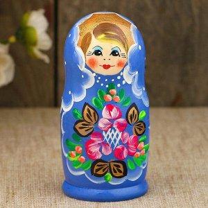 Матрёшка «Нежность», синее платье, 3 кукольная, 9 см