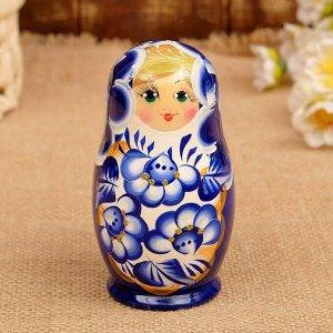 Матрёшка «Марина», сине-белое платье, 3 кукольная. 10 см