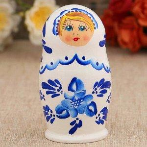 Матрёшка «Гжель», белое платье, 5 кукольная, 10 см