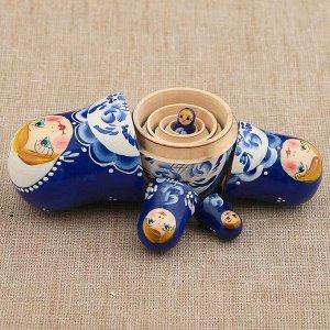 Матрёшка «Поднос гжель», синее платье, 5 кукольная, 10 см