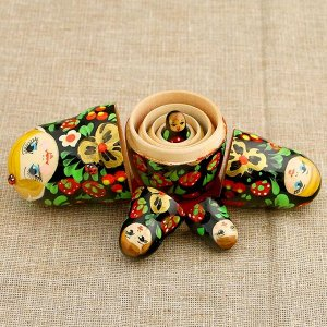 Матрёшка «Божья коровка», чёрный платок, 5 кукольная, 10,5 см