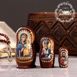 Матрёшка «Православная», 3 кукольная, Неувядаемый цвет, Спас, Николай Чудотворец