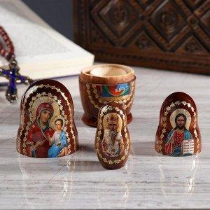 Матрёшка «Православная», 3 кукольная, Иверская, Спас, Николай Чудотворец