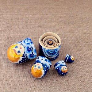 Матрёшка «Гжель», синее платье, 5 кукольная, 15 см