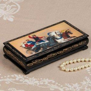Шкатулка - купюрница «Тройки», 8,5?17см, лаковая миниатюра