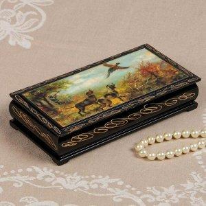 Шкатулка - купюрница «Охота», 8,5?17 см, лаковая миниатюра