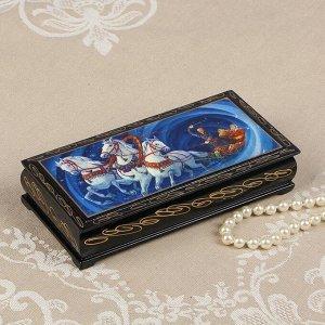 Шкатулка - купюрница «Тройка», 8,5?17 см, лаковая миниатюра