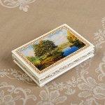 Шкатулка «Берег», белая, 11*16 см, лаковая миниатюра