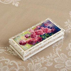 Шкатулка - купюрница «Розы», белая, 8,5?17 см, лаковая миниатюра