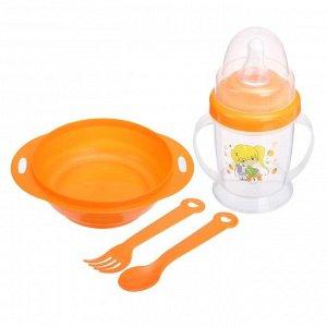 Набор детской посуды, 4 предмета: миска 200 мл, бутылочка для кормления 180 мл, ложка, вилка, цвета МИКС