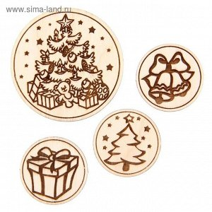 Фишки деревянные в наборе «Новогодняя ёлка»