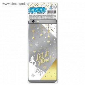 """Наклейка для телефона """"Let it snow!"""", 7*19 см"""