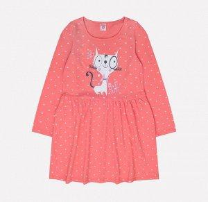 Платье для девочки Crockid К 5518 сердечки на ярком лососе
