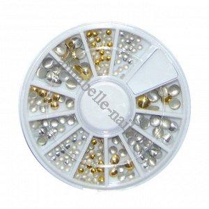 Клепки круглые в карусельке разных размеров, золотые и серебристые