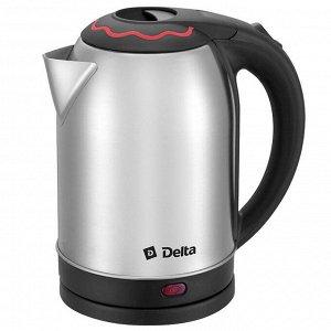 Чайник электрический 1500 Вт, 2 л DELTA DL-1330 c красной вставкой