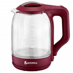 Чайник электрический 2000 Вт, 1,8 л ВАСИЛИСА ВА-1025 бордовый