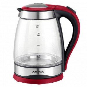 Чайник электрический 2200 Вт, 1,8 л АКСИНЬЯ КС-1004 черный с красным