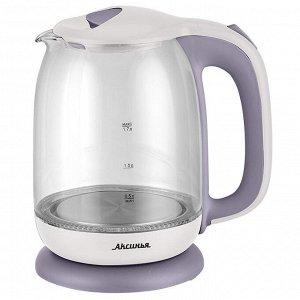 Чайник электрический 2200 Вт, 1,7 л АКСИНЬЯ КС-1020 белый с фиолетовым