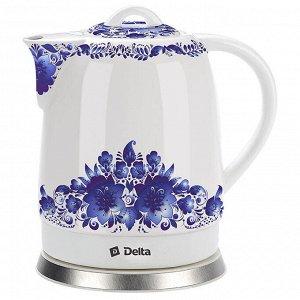 """Чайник электрический 1500 Вт 1,7 л DELTA DL-1233В """"Синие цветы"""""""