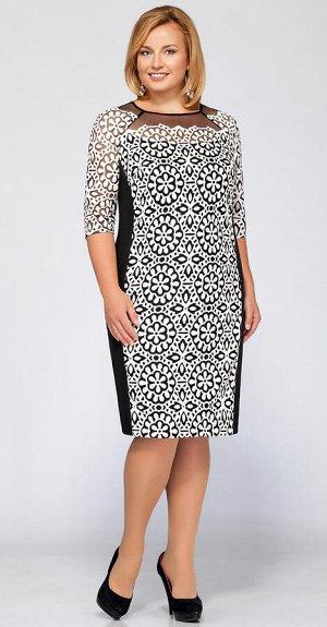 Платье Платье LaKona 1051  Состав ткани: ПЭ-95%; Спандекс-5%;  Рост: 164 см.  Платье полуприлегающего силуэта. Перед и рукав 3/4 выполнены из ткани «под кожу» с перфорацией. Боковые детал