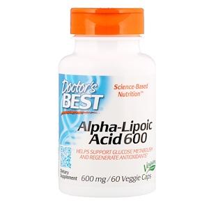 Doctor's Best, Альфа-липоевая кислота Best, 600 мг, 60 растительных кап.