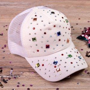 Кепка с козырьком, цветные камни россыпью, белая ( Китай)