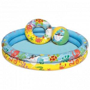 Бассейн надувной «Рыбки», 3 предмета: бассейн, мяч, круг, 122 х 20 см, от 2 лет, 51124 Bestway