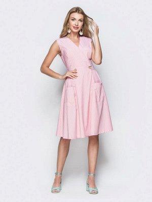 Платье Лаконичное платье на запах в широкую полосу из лёгкого коттона. Изделие отрезное по талии застёгивается на пуговицу. Идеально подходит обладательницам типа фигуры «прямоугольник».  Замеры издел